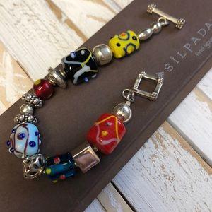 Silpada Fused Glass & Sterling Bracelet